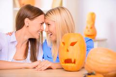 Nice friends craving the pumpkin Stock Photos
