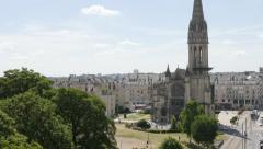 Saint-Pierre basilique located in Lower Normandy city of Caen by the day 4K 3 Stock Footage
