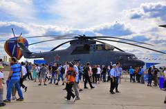MOSCOW, RUSSIA - AUG 2015: transport helicopter Mi-26 Halo prese - stock photo