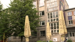 Old Soviet industrial complex Stock Footage
