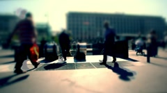 Walking people on a big street in vienna ,motion blur background,rush hour Stock Footage