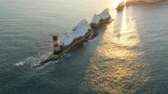 Aerial Drone Needles UK Lighthouse Helipad sea sunrise Arkistovideo