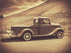 Sepia Vintage Truck - stock photo