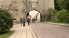 Medieval seagate entrance Stock Footage