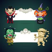Set of Vector Halloween Banners with Monsters - stock illustration