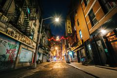 Pell Street at night, in Chinatown, Manhattan, New York. Stock Photos