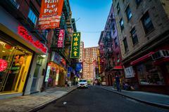 Stock Photo of Pell Street in Chinatown, Manhattan, New York.