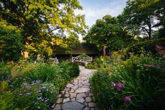 Stock Photo of Path and flowers at the Shakespeare Garden, in Central Park, Manhattan, New Y