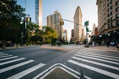Intersection of Broadway and 5th Avenue, in the Flatiron District, in Manhatt - stock photo
