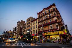 Stock Photo of Division Street at night, in Chinatown, Manhattan, New York.