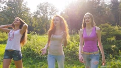 Friends,  girls, caucasians, having fun in nature, slow motion. - stock footage
