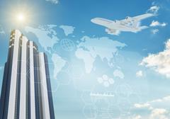 Jet with molecule and skyscraper Stock Illustration