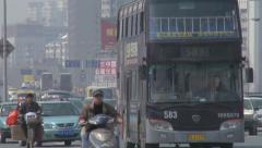 Busy city traffic, modern Chinese city Stock Footage