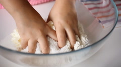 Girl baking cookies tahini mixing flour dough and butter  Stock Footage