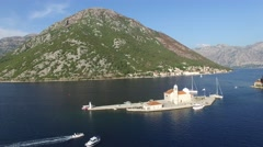 Our Lady of the Rocks - Small island in Bay of Kotor Stock Footage