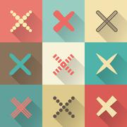 Set of different retro  crosses and tics Stock Illustration