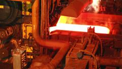 Hot slab are moving in mill, Production of steel plants that look very elegant, Stock Footage