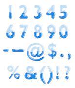 Set of glass letters half-full of blue liquid Stock Illustration