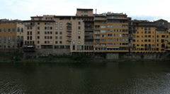 View of houses along the Arno River - stock footage