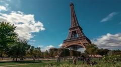 Eiffel Tower & Champ de Mars Garden 2, Paris, Time Lapse Stock Footage