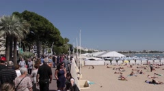 Busy beach/croisette Stock Footage