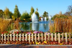 "The fountains and pond near ""Khonka"" house, Ukraine. It is former residence o - stock photo"