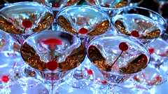 Champagne with cherries. Stock Footage