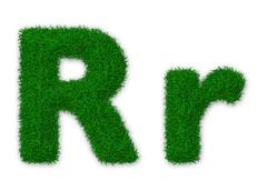Illustration of capital and lowercase letter R made of grass Stock Illustration