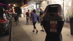 Parking Meter at night Stock Footage