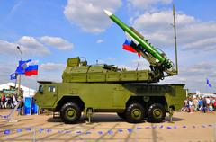 MOSCOW, RUSSIA - AUG 2015: Buk-M2 SA-17 Grizzly presented at the - stock photo