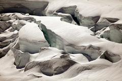 Deep glacier crevasses on Jungfraujoch, Switzerland Stock Photos