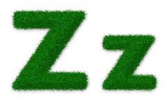 Illustration of capital and lowercase letter Z made of grass - stock illustration