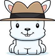 Cartoon Smiling Detective Bunny - stock illustration
