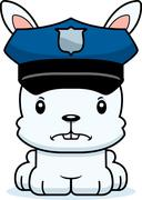 Cartoon Angry Police Officer Bunny - stock illustration