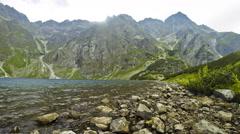 Picturesque view of Czarny Staw pod Rysami, Tatra mountains, Poland - stock footage