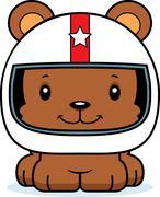 Cartoon Smiling Race Car Driver Bear Stock Illustration