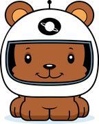 Cartoon Smiling Astronaut Bear - stock illustration