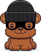 Cartoon Smiling Thief Bear - stock illustration