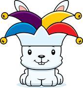 Cartoon Smiling Jester Bunny - stock illustration