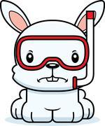 Cartoon Angry Snorkeler Bunny - stock illustration