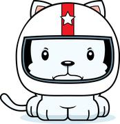 Cartoon Angry Race Car Driver Kitten - stock illustration
