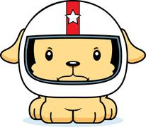 Cartoon Angry Race Car Driver Puppy - stock illustration