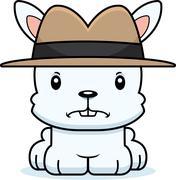 Cartoon Angry Detective Bunny - stock illustration