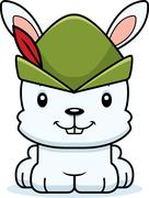 Cartoon Smiling Robin Hood Bunny Stock Illustration