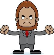 Cartoon Angry Businessperson Sasquatch - stock illustration