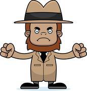 Cartoon Angry Detective Sasquatch - stock illustration