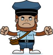 Stock Illustration of Cartoon Angry Mail Carrier Sasquatch