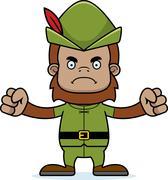 Cartoon Angry Robin Hood Sasquatch - stock illustration