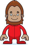 Cartoon Smiling Sasquatch In Pajamas - stock illustration