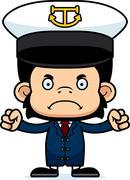 Cartoon Angry Boat Captain Chimpanzee - stock illustration